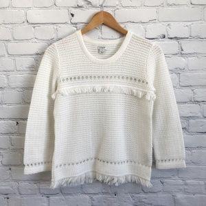 J. CREW Factory White Fringe 3/4 Sleeve Sweater